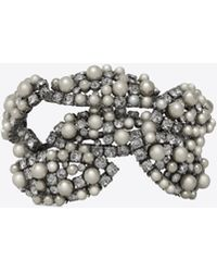 Saint Laurent - Smoking Perle Leaf-design Cuff Bracelet In Silver-toned Brass - Lyst