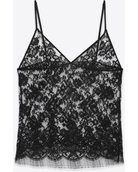 Saint Laurent - Triangle Camisole In Black Floral Lace - Lyst