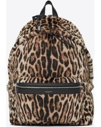 Saint Laurent - City Backpack In Ocelot Printed Pony Effect Leather - Lyst