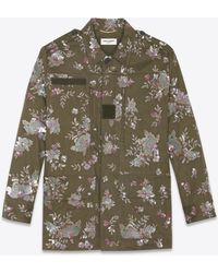 Saint Laurent - Embroidered And Beaded Military Parka In Khaki Cotton Gabardine - Lyst