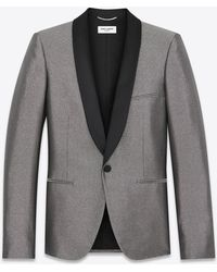 Saint Laurent - Jacket With Satiny Shawl Collar In Silver-toned Fabric - Lyst