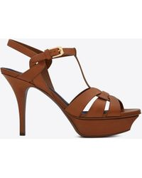 Saint Laurent - Tribute Sandal In Smooth Leather - Lyst