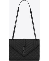 6df97e480a Saint Laurent - Envelope Medium Bag In Grain De Poudre Embossed Leather -  Lyst