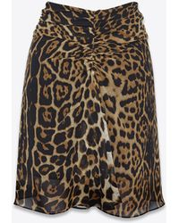 Saint Laurent - Gathered Mini Skirt In Georgette Silk With A Leopard Print - Lyst