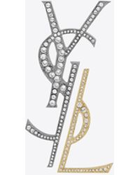 Saint Laurent - Deconstructed Brooch In Gunmetal, Gold Brass And Clear Crystal - Lyst