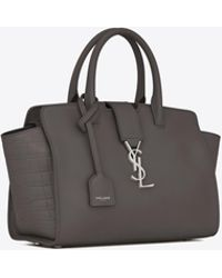 Saint Laurent - Downtown Baby Cabas In Smooth And Crocodile Embossed Leather - Lyst