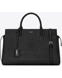 Saint Laurent - Medium Cabas Rive Gauche Bag In Black Crocodile Embossed Leather - Lyst
