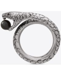 Saint Laurent - Snake Ring In Silver Metal With A Black Glass Bead. - Lyst