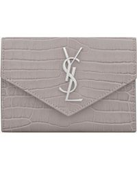 Saint Laurent - Small Envelope Wallet In Mouse-gray Crocodile Embossed Shiny Leather - Lyst