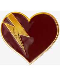 Saint Laurent - Heart & Bolt Brooch In Gold-toned Brass And Burgundy And Orange Enamel - Lyst