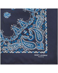 Saint Laurent - Bandana Square Scarf In Blue And White Paisley Printed Silk - Lyst