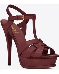 0ba7b3a1431231 Saint Laurent - Tribute Sandals In Patent Leather - Lyst