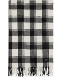 Saint Laurent - Scarf In Black And Ivory Knit Wool And Cashmere Plaid Jacquard - Lyst