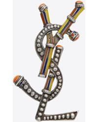 Saint Laurent - Opyum Berber Brooch In Silver-toned Tin And Multicolored Enamel - Lyst