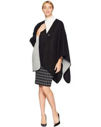 Calvin Klein - Reversible Suede Trim Ruana (heathered Mid Grey) Women's Clothing - Lyst