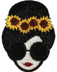Alice + Olivia Stace Face With Sunflowers Beaded Brooch - Black