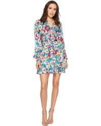 Laundry by Shelli Segal - Floral Print Godet Dress With Ruffle Details - Lyst