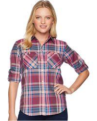 Lauren by Ralph Lauren - Plaid Cotton-twill Shirt (red Multi) Women's Clothing - Lyst