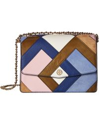 d265b24daf5c Tory Burch - Robinson Pieced Shoulder Bag (bright Navy multicolor) Shoulder  Handbags -