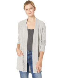 Mod-o-doc - Heathered Stripe Sweater Raglan Sleeve Cardigan (grey) Women's Sweater - Lyst