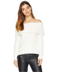 Kensie - Fur Yarn Of The Shoulder Sweater Ksnk5921 (ivory Cloud) Women's Sweater - Lyst