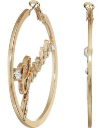 Guess - Logo Thick Clutchless Hoop Earrings (rose Gold) Earring - Lyst