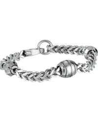 Steve Madden - 8.5 Polished Wheat Chain With Oval Design Bracelet In Stainless Steel (silver) Bracelet - Lyst