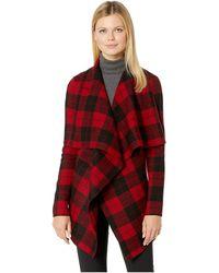 Lauren by Ralph Lauren - Checkered Merino Shawl Sweater (red Multi) Women's Sweater - Lyst