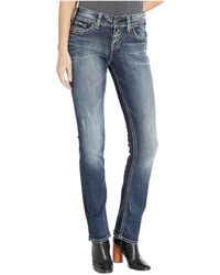 Silver Jeans Co. - Suki Mid-rise Well Defined Curve Mid Straight Jeans In Indigo (indigo) Women's Jeans - Lyst