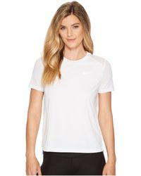 Nike - Dry Miler Short-sleeve Running Top (gunsmoke/heather) Women's Short Sleeve Pullover - Lyst
