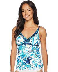 Tommy Bahama - Tropical Swirl Over The Shoulder Shirred Tankini - Lyst