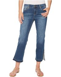 Liverpool Jeans Company - Tabitha Straight Crop With Ankle Slits In Vintage Super Comfort Stretch Denim In Montauk Mid Blue - Lyst