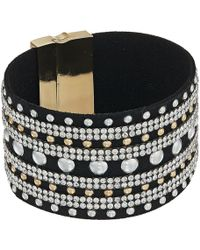 Guess - Wide Faux Leather Studded Cuff With Rhinestone Accents Bracelet - Lyst