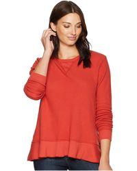 Mod-o-doc - Flatback Thermal Long Sleeve Sweatshirt Tee With Flounce Hem (bonfire) Women's T Shirt - Lyst