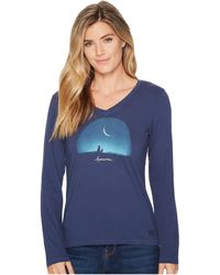 Life Is Good. - Awesome Night Long Sleeve Crusher Vee (darkest Blue) Women's T Shirt - Lyst