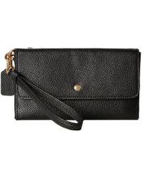 COACH - Triple Small Wristlet In Polished Pebble Leather (li/black) Wristlet Handbags - Lyst