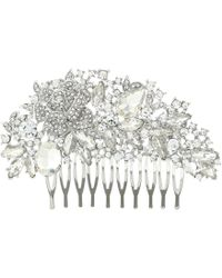 Nina - Romantic Haircomb (rhodium/white Cz) Hair Accessories - Lyst
