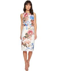 Ivanka Trump | Sleeveless Printed Scuba Crepe Shift Dress | Lyst
