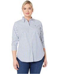 9017403f6ed Lauren by Ralph Lauren - Plus Size No-iron Striped Button Down Shirt (white