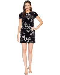 Calvin Klein - Embroidered Velvet Shift Dress - Lyst