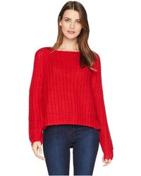 Kut From The Kloth - Page Chunky Crew Neck Top (red) Women's Long Sleeve Pullover - Lyst