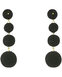 Kenneth Jay Lane - 3 Black Thread Small To Large Matte Wrapped Ball Clip Earrings W/ Dome Top (black) Earring - Lyst
