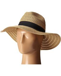 San Diego Hat Company - Ubm4454 4 Inch Brim Panama Fedora Hat With Gold Lurex Specs (natural) Caps - Lyst