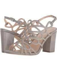 c3b66b5aa71 Lyst - Steve Madden Pewter Fiffi Embellished Strappy Sandals in Metallic