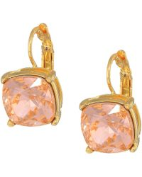 Kenneth Jay Lane - Gold Eurowire/light Peach 12mm Faceted Square Stone Earrings - Lyst