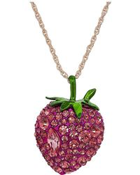 Betsey Johnson - Bright Pink Strawberry Pendant Necklace - Lyst