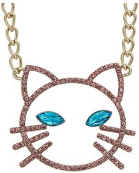 Betsey Johnson - Pink Stone Open Cat Face Pendant Necklace (pink) Necklace - Lyst
