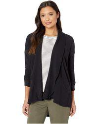 Mod-o-doc - Textured Slub Stripe Raglan Sleeve Kangaroo Pocket Cardigan (black) Women's Sweater - Lyst