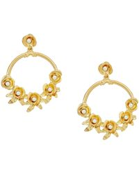 Kenneth Jay Lane - Satin Gold W/ Flowers/white Pearl Center Hoop Pierced Earrings (satin Gold/flowers/white Pearl) Earring - Lyst