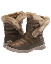 The North Face - Thermoballtm Microbaffle Bootie Ii (shiny Tarmac Green/vintage Khaki) Women's Cold Weather Boots - Lyst